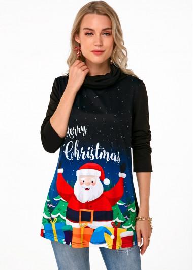 Christmas Print Cowl Neck Long Sleeve Tunic Top - L