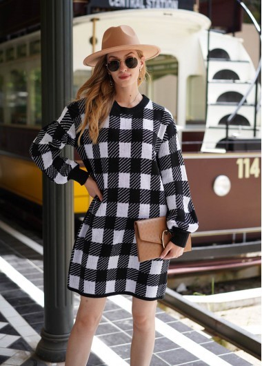 Plaid Round Neck Long Sleeve Sweater Dress - M
