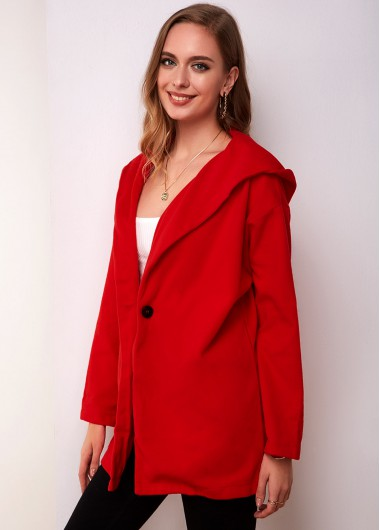 Hooded Collar One Button Long Sleeve Coat - L