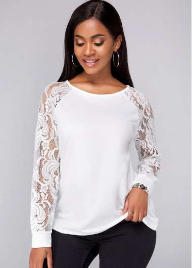 Lace Panel Round Neck Long Sleeve Sweatshirt - L