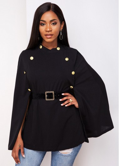 Buckle Belted Cape Sleeve Button Detail Trench Coat - L