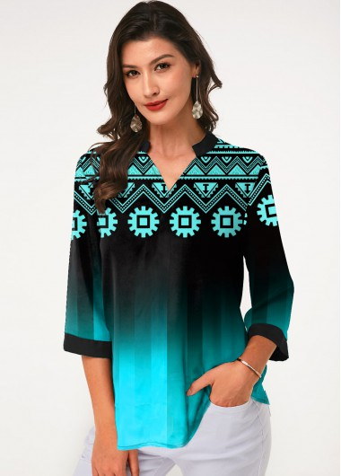 Tribal Print Split Neck Three Quarter Sleeve Blouse - L