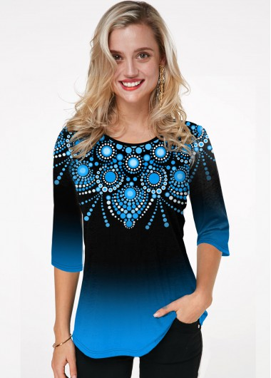 Tribal Print Round Neck Ombre T Shirt - L