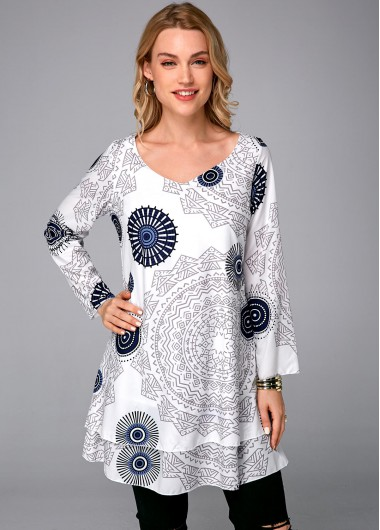 Tribal Print Round Neck Long Sleeve Dress - 4XL