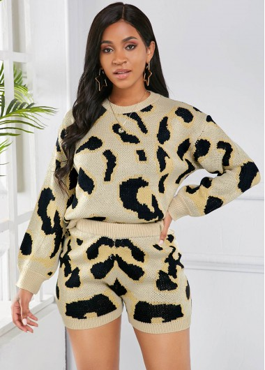 Leopard Shorts and Round Neck Long Sleeve Sweater - M