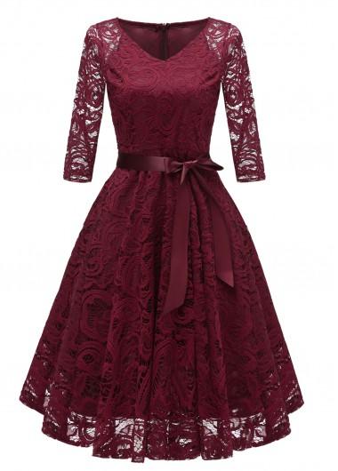 Christmas Holiday Dress Belted Lace V Neck Three Quarter Sleeve Dress - L