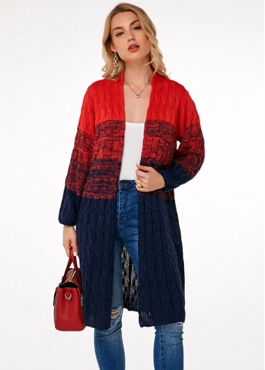 Contrast Long Sleeve Open Front Cardigan - S