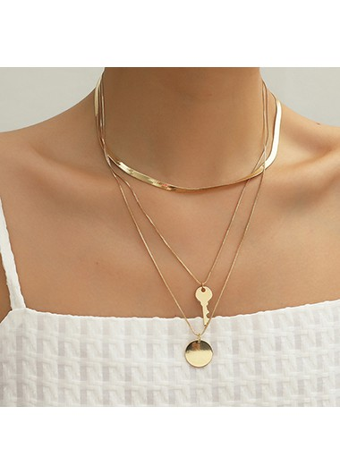 Layered Gold Metal Key Design Necklace - One Size