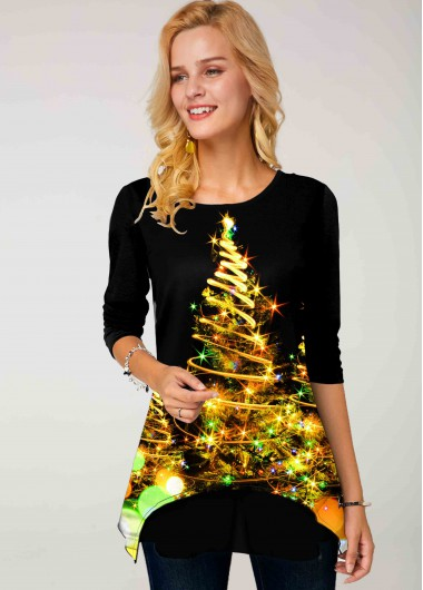 Christmas Tree Print Round Neck Long Sleeve T Shirt - L
