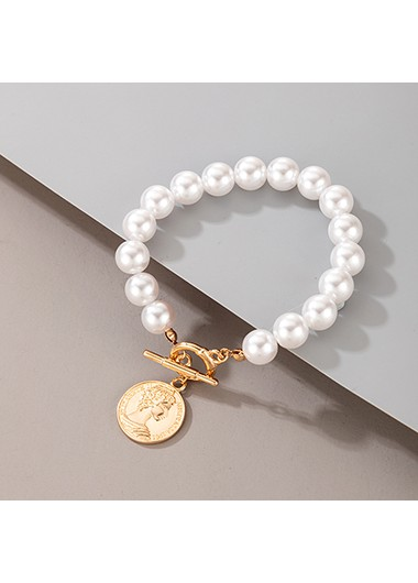 Pearl Detail Coin Design Metal Bracelet - One Size