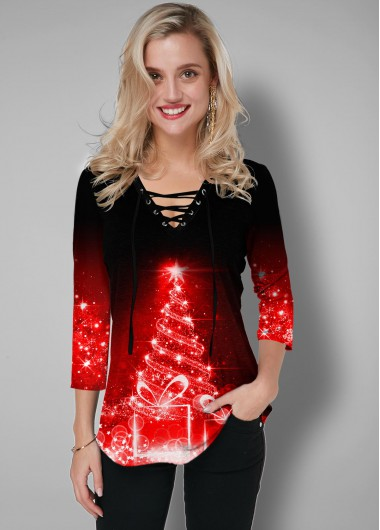 Christmas Tree Print Lace Up T Shirt - L
