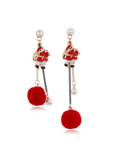 Santa Claus Pearl Detail Red Earring Set - One Size