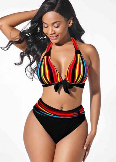 Rainbow Color Bowknot Halter Bikini Set - L