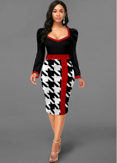 Houndstooth Print Puff Sleeve Contrast Dress - L