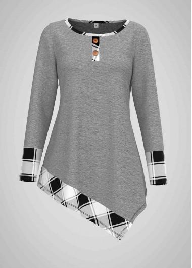 Asymmetric Hem Plaid Print Round Neck T Shirt - S