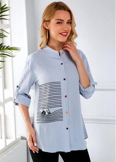 Button Up Striped Roll Tab Sleeve Blouse - S