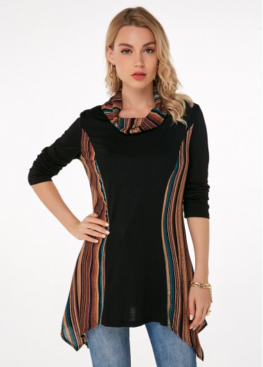 Asymmetric Hem Cowl Neck Striped T Shirt - 3XL