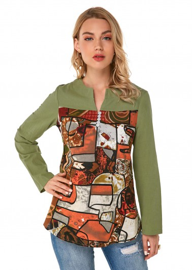 Retro Print Button Detail Long Sleeve Blouse - M