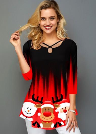 Christmas Print Ombre Three Quarter Sleeve T Shirt - L
