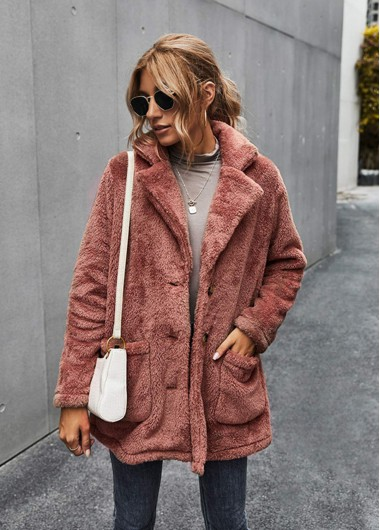 Turndown Collar Button Up Pocket Fluffy Coat - S