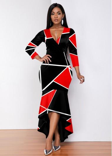Color Block Plunging Neck High Low Dress - L