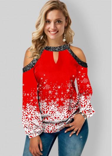 Snowflake Print Sequin Detail Cold Shoulder Blouse - L