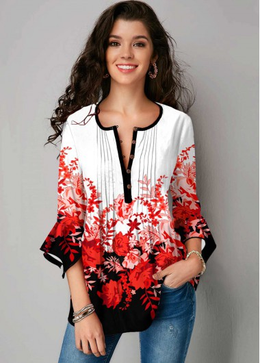 Floral Print Hanky Cuff Crinkle Chest Blouse - L