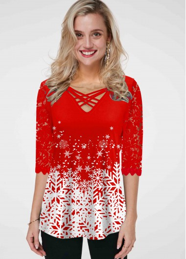 Snowflake Print Cross Strap Lace Panel T Shirt - M