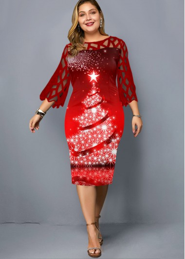 Plus Size Lace Panel Christmas Print Dress - 2X