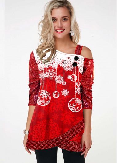 Sequin Sleeve Snowflake Print Cold Shoulder T Shirt - L