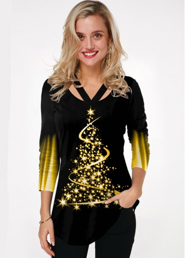 Christmas Tree Print Ombre Cutout Neck T Shirt - L