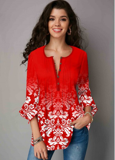 Tribal Print Hanky Cuff Crinkle Chest Blouse - L
