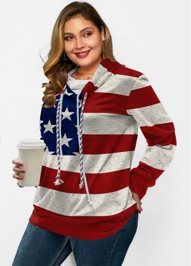 Modlily American Flag Print Drawstring Long Sleeve Sweatshirt - 1X