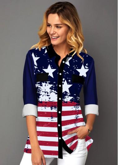 American Flag Print Button Up Shirt - L