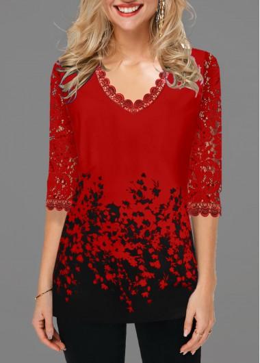 Lace Panel Floral Print V Neck T Shirt - L