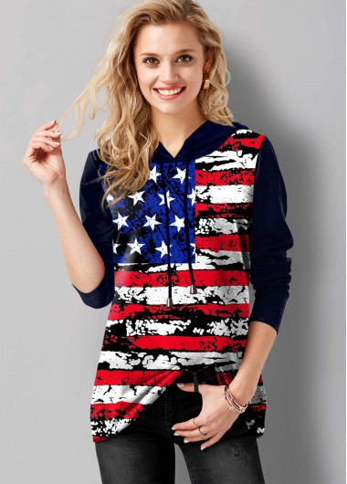 American Flag Print Long Sleeve Drawstring Tunic Top - L
