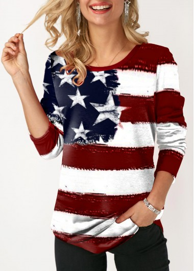 American Flag Print Round Neck Long Sleeve T Shirt - L