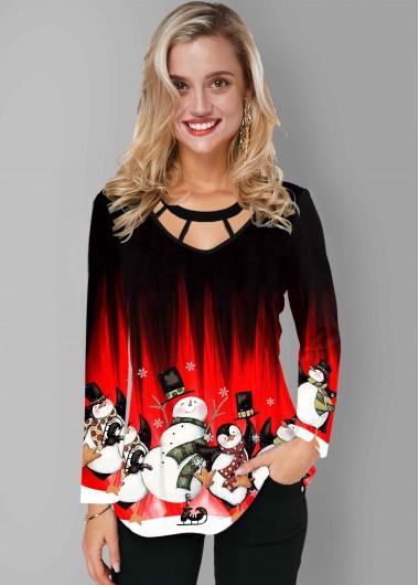 Christmas Print Cage Neck Long Sleeve T Shirt - L