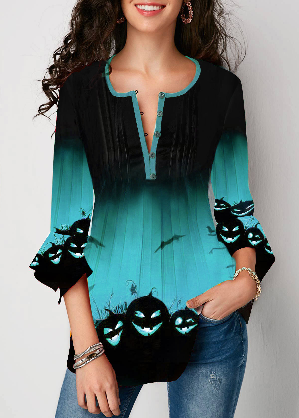 Flare Sleeve Button Front Halloween Print Blouse