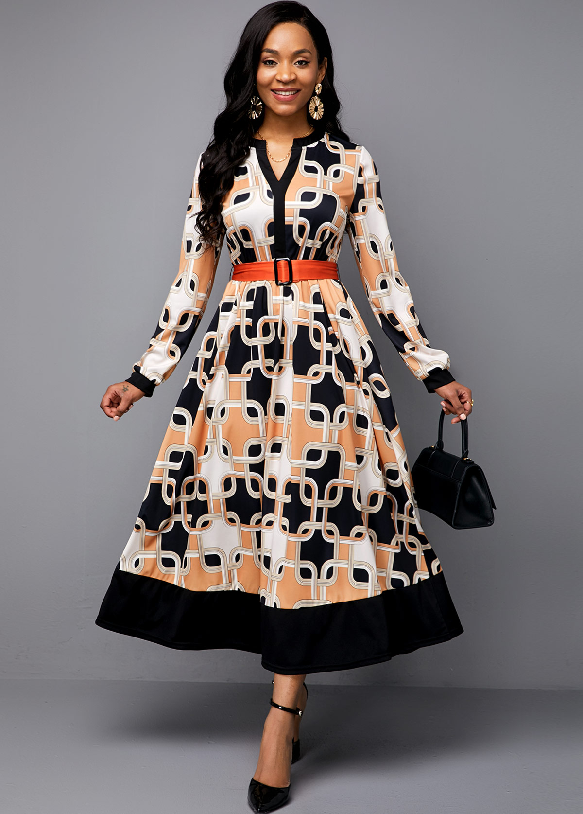 Symmetric Print Buckle Belted Split Neck Maxi Dress