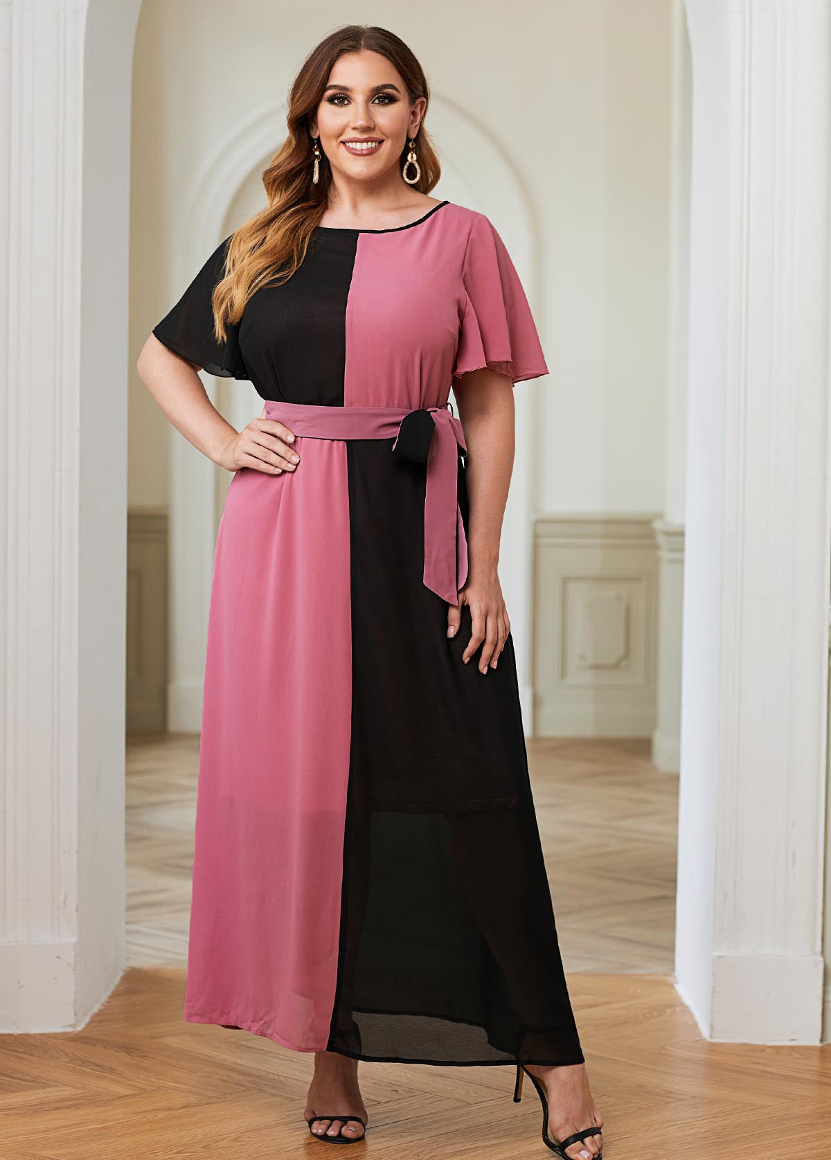 Plus Size Color Block Belted Maxi Dress