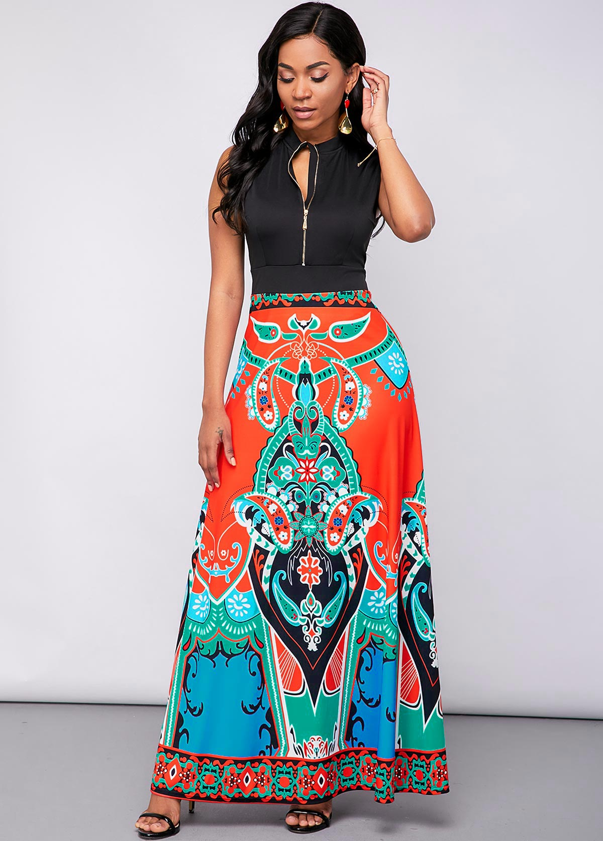 Tribal Print Quarter Zip Sleeveless Maxi Dress
