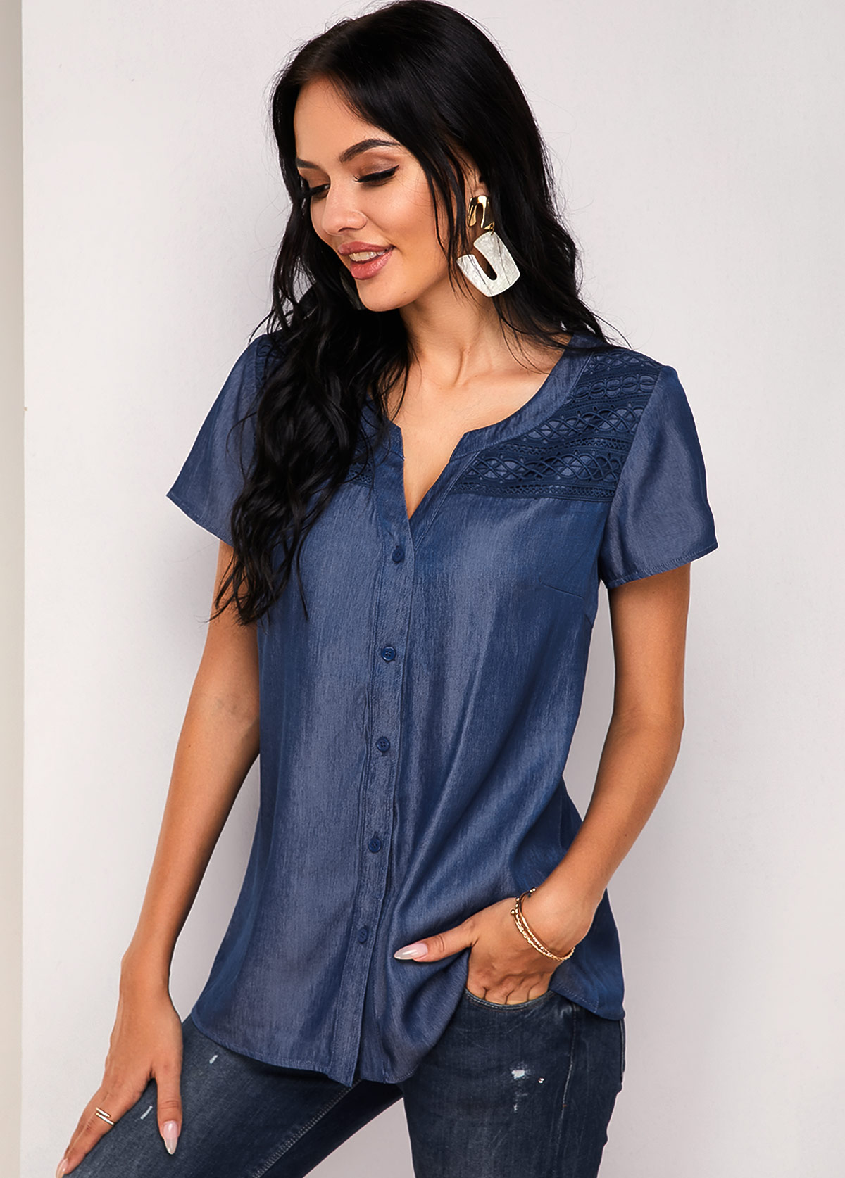 Button Up Lace Panel Short Sleeve Blouse