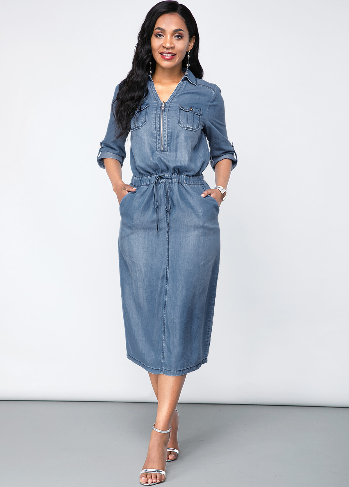 Turndown Collar Chest Pocket Denim Dress