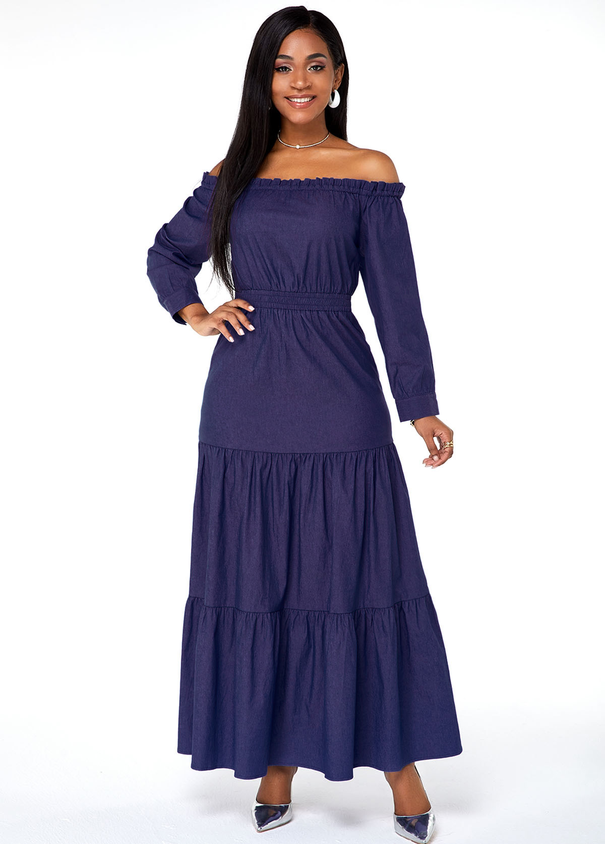 Off the Shoulder Long Sleeve Faux Denim Maxi Dress