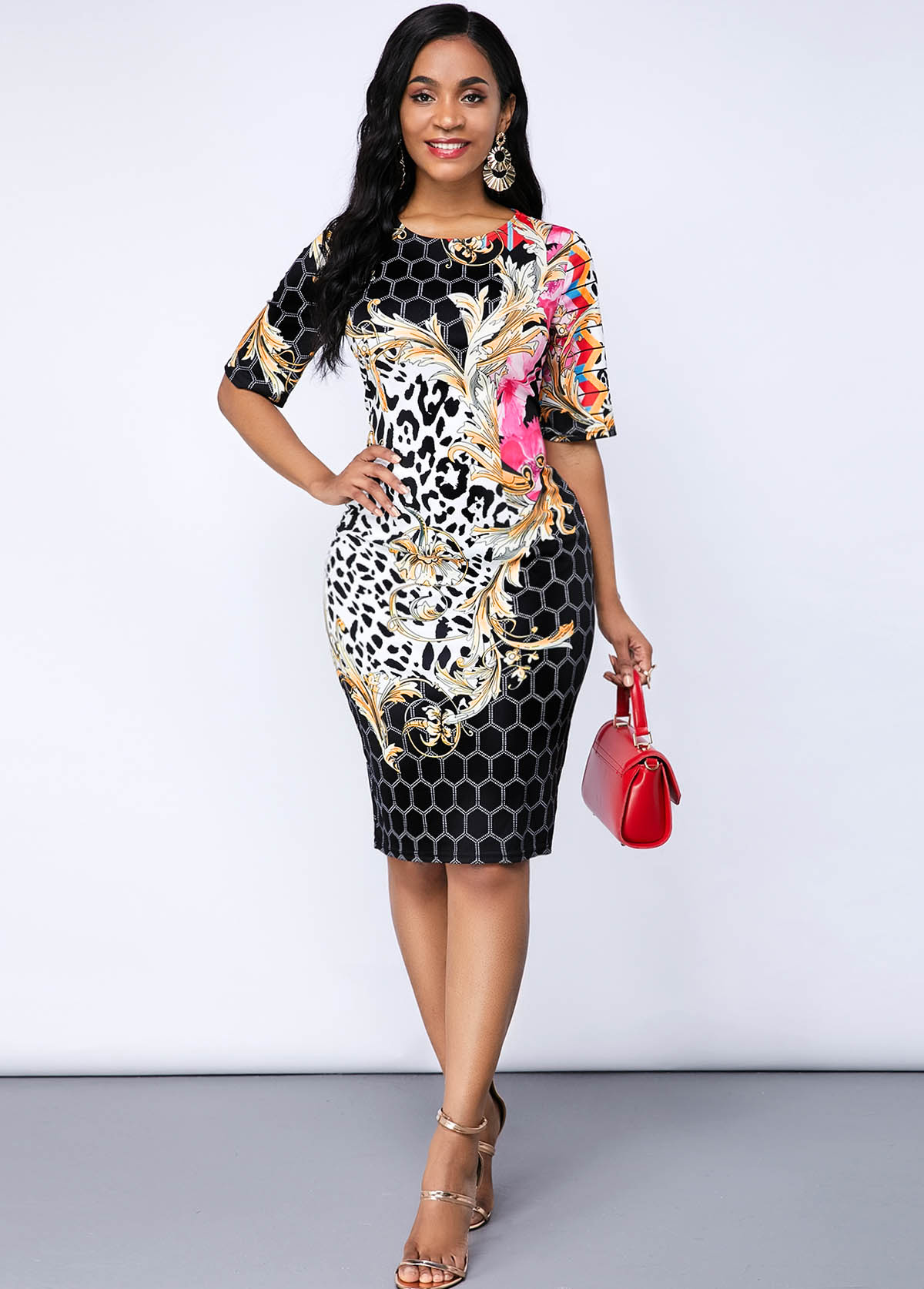 Leopard and Geometric Print Sheath Dress