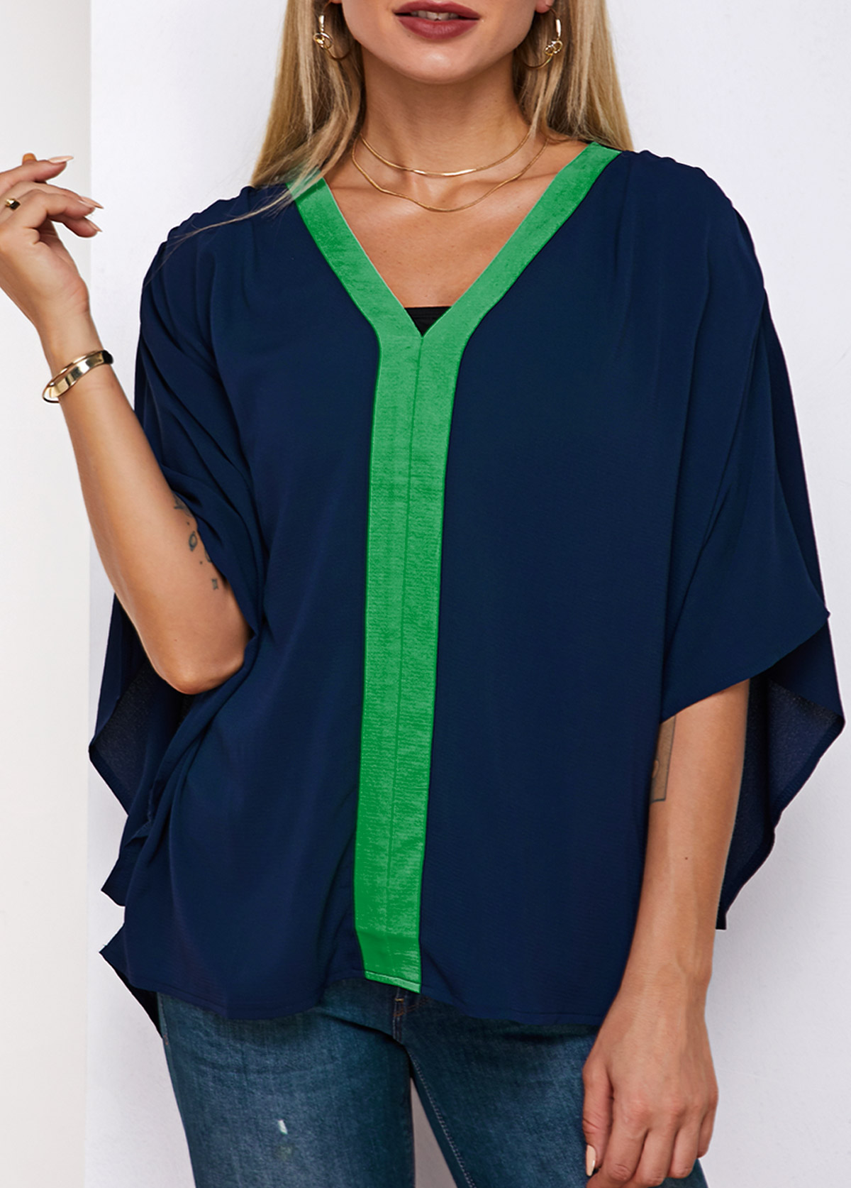 Tube Top and Contrast Stitch Batwing Sleeve V Neck Blouse
