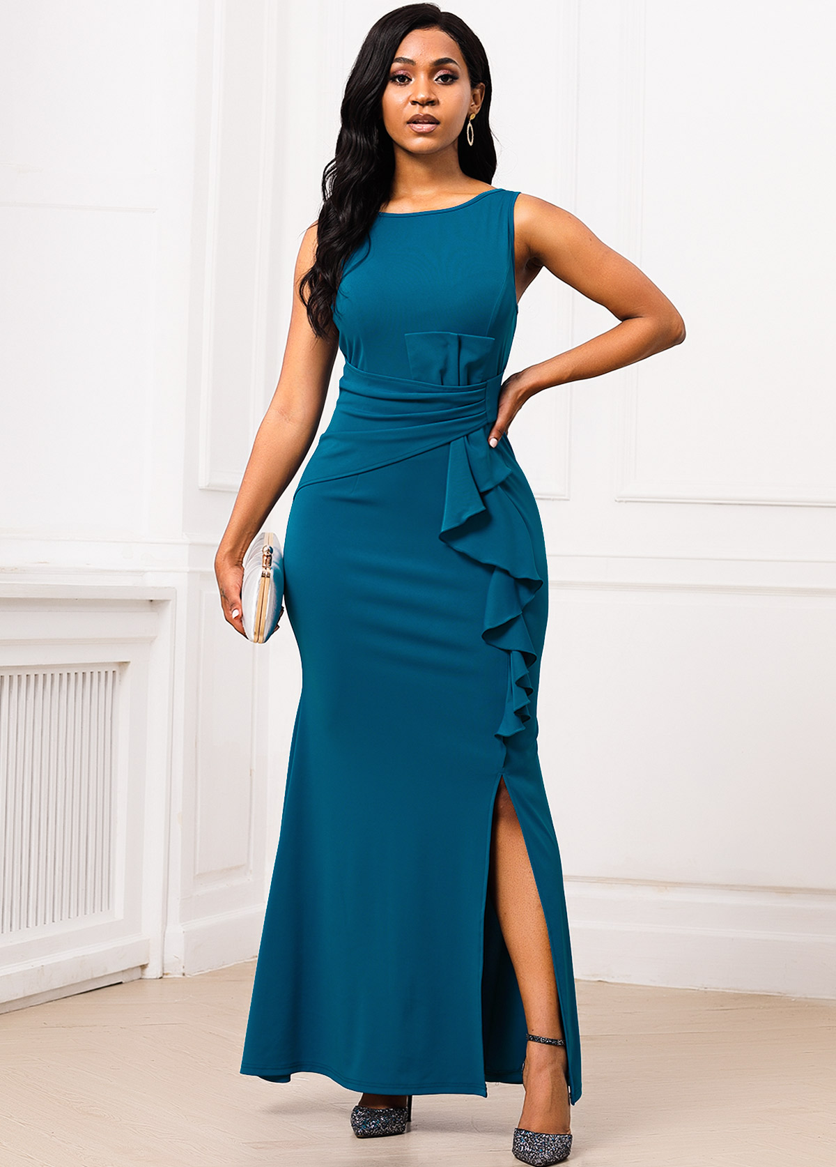 Side Slit Ruffle Trim V Back Mermaid Dress