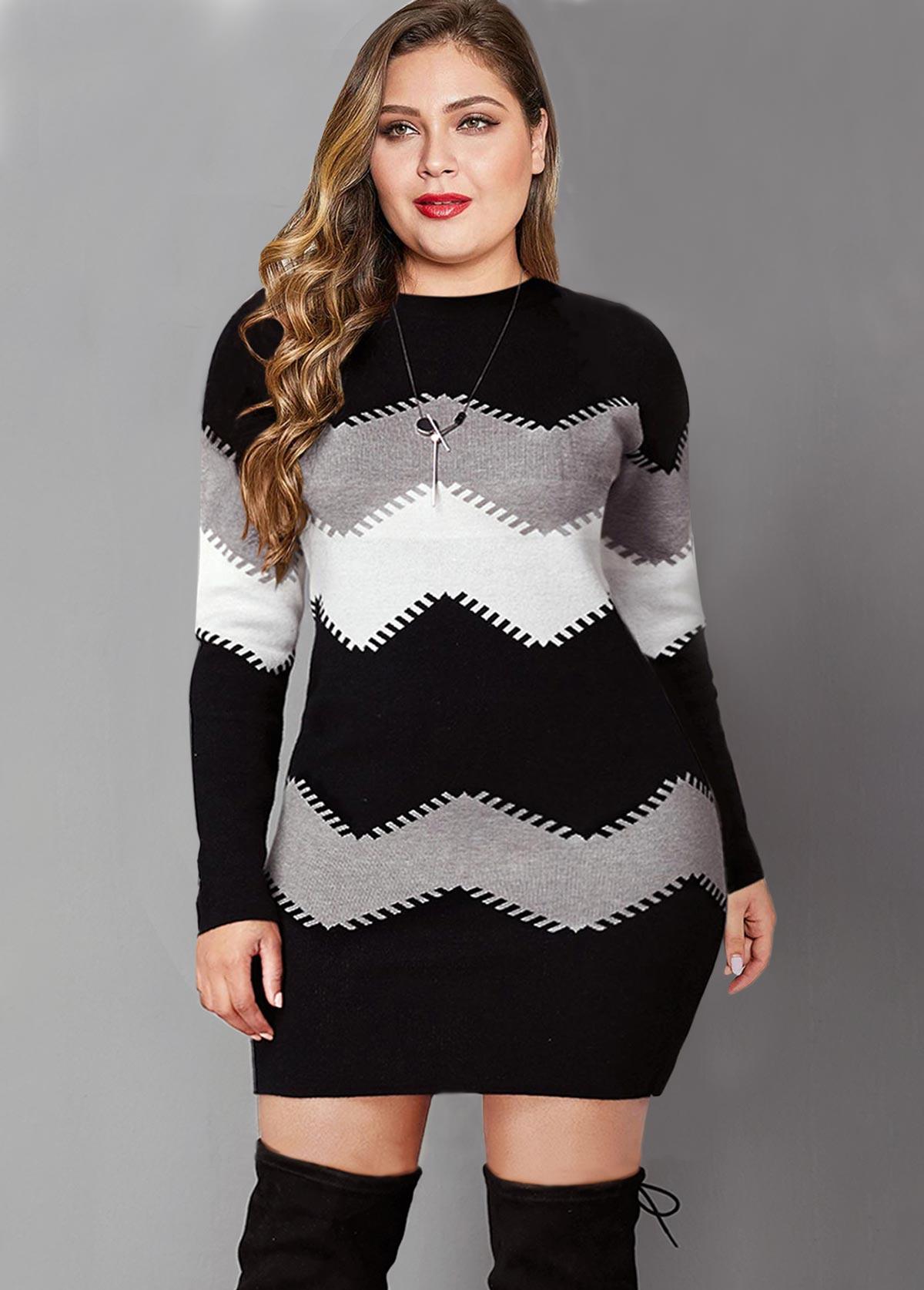 Plus Size Color Block Long Sleeve Sweater Dress