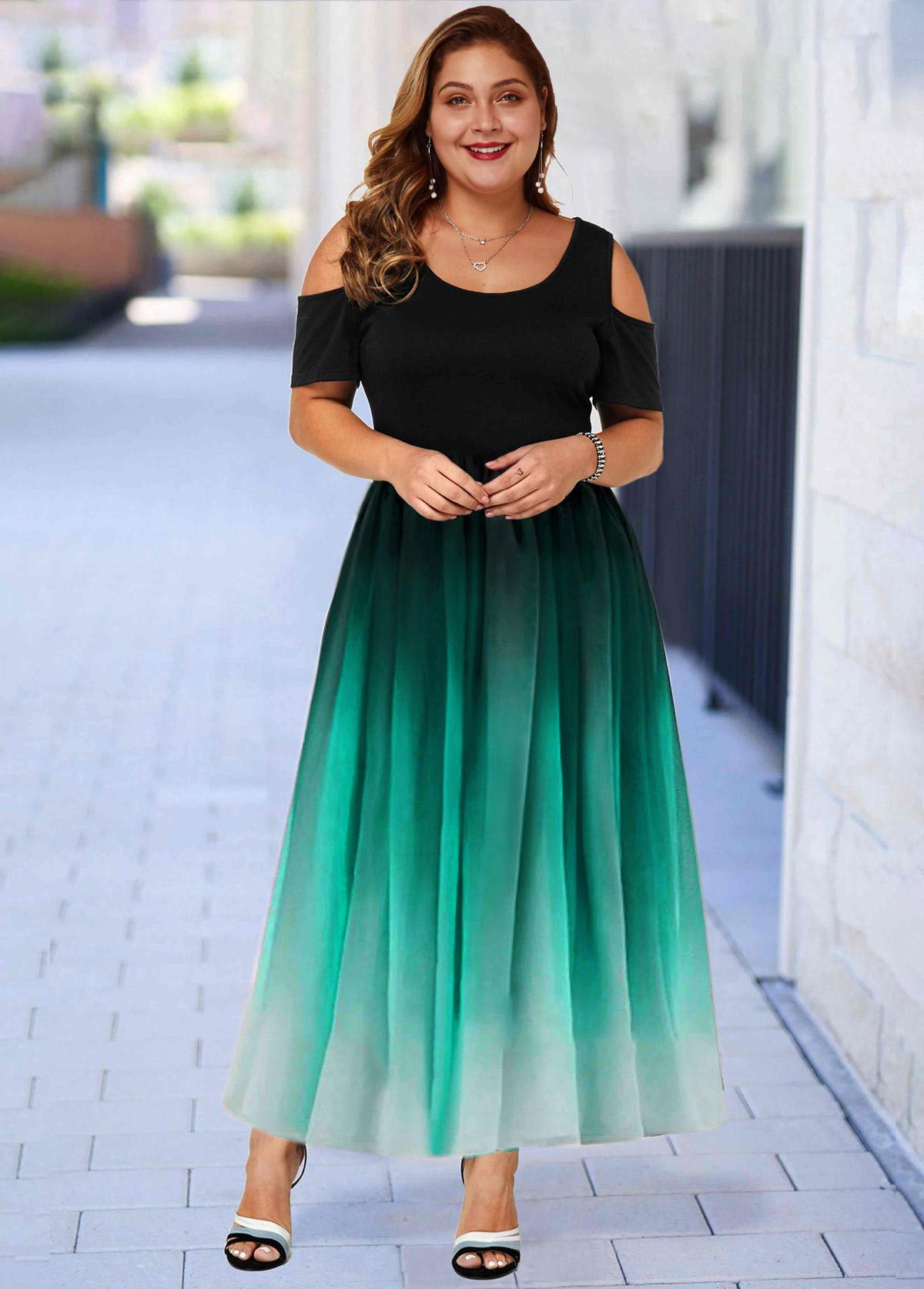 Plus Size Cold Shoulder Ombre Maxi Dress